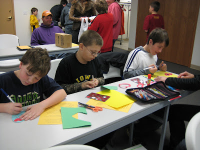 Hustler members Brayton Anderson, Nathan Beenblossom, and Ryan Friese made several Valentine's for Vets.  Photo courtesy:  Washington County Extension.