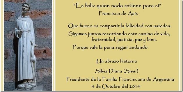 SALUDO FRANCISCO 2014 FAMILIA FRANCISCANA (1)