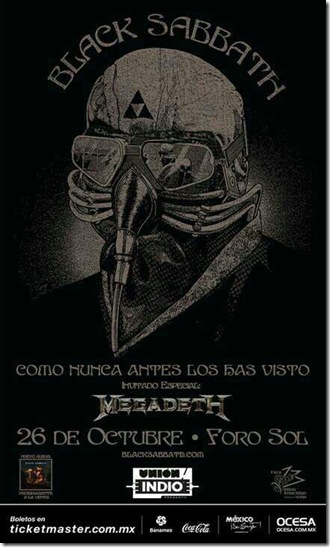 black sabath en foro sol en mexico 2013 flyer oficial