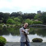 at Shinjuku Gyoen lake in Shinjuku, Tokyo, Japan