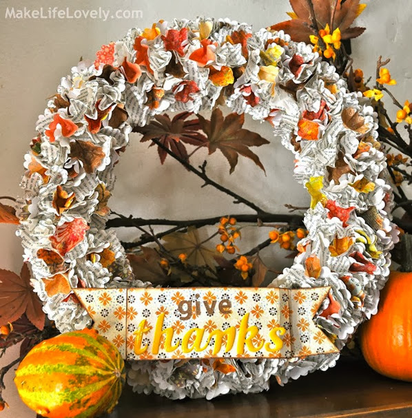 DIY Fall Wreath Give Thanks Finished Product