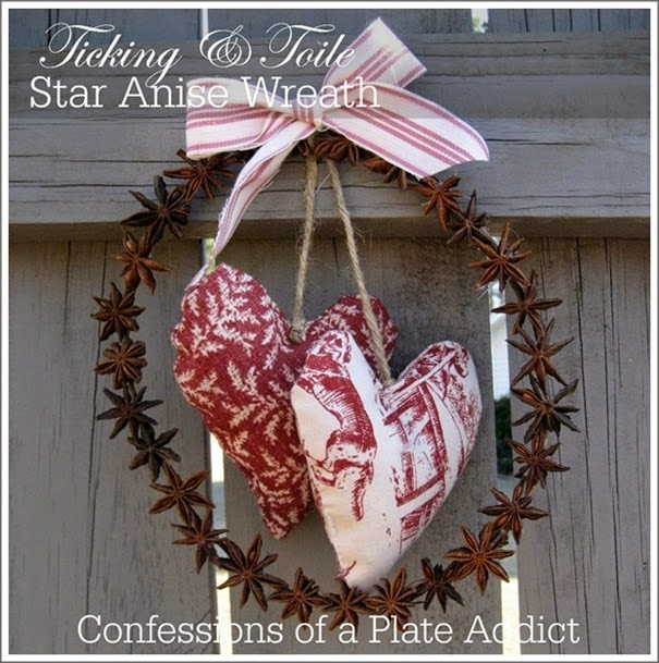 CONFESSIONS OF A PLATE ADDICT Ticking and Toile Star Anise Wreath