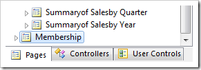 Selecting the Membership page from the Project Explorer.