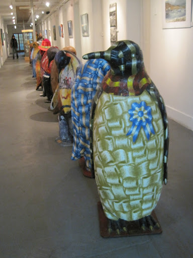 Funky patterned penguins on display at the Maritime and Prison Museum.