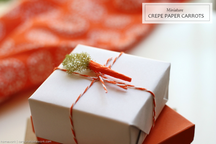 Miniature Crepe Paper Carrots - homework (5)