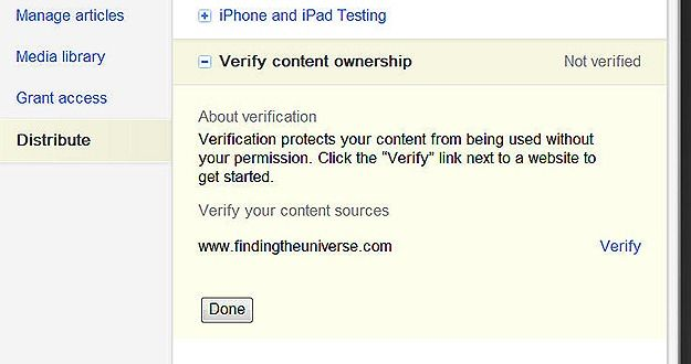 Verify Content Ownership