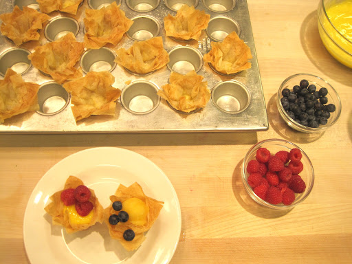 Fill phyllo cups with lemon curd or citrus sorbet