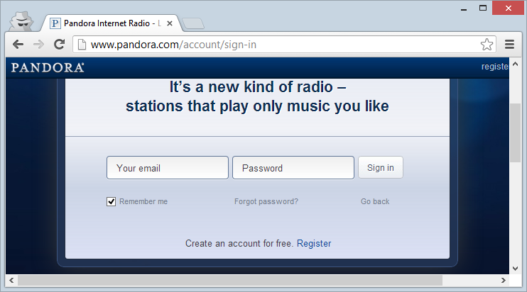 Pandora login page loaded over HTTP