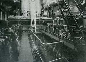 Sala de maquinas del CAMPOMANES. Foto de la revista INGENIERIA NAVAL. Junio de 1932