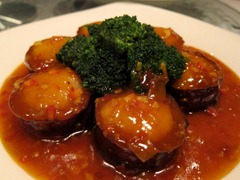 Roasted Eggplant stuffed with Scallops in Spicy Plum Sauce