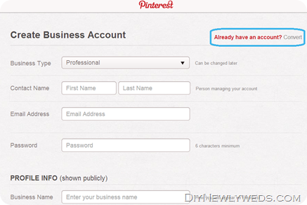 Signing up for Pinterest for Business