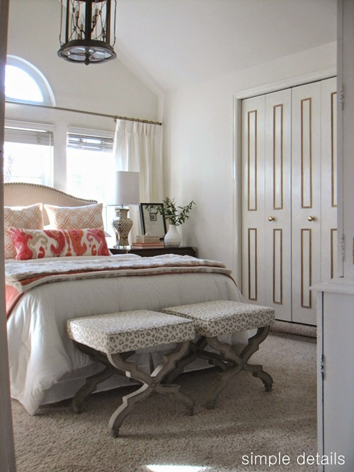 light bedroom with coral