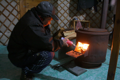 Our driver lighting our stove the fast way - with a blowtorch