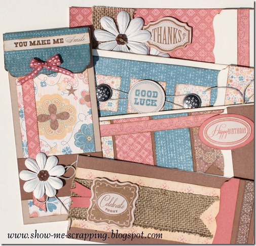 Show me scrapping blog casual clementine card kit these cards are full of country charm due to the use of burlap ribbon paper flowers hemp badge buttons and clementine paper stamping is done with the mightylinksfo