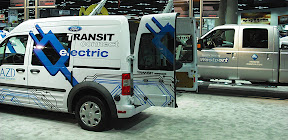 A pure battery electric Transit Connect with drivetrain by Azure Dynamics was among the alt fuel vehicles shown by Ford at this year's Work Truck Show in Indianapolis.