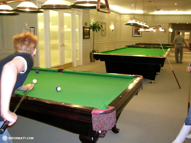 playing billiards at skymark mississauga in Mississauga, Ontario, Canada