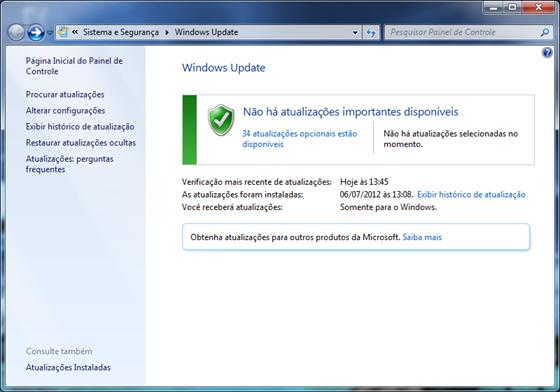 Na janela do Windows Update, clique em Alterar Configurações