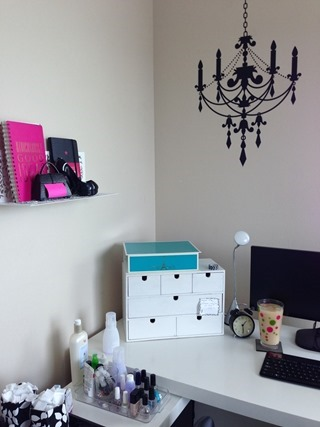 IKEA MALM desk - I use the extension as my nail polish station
