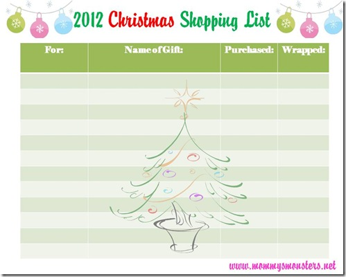 2012 Christmas Shopping List