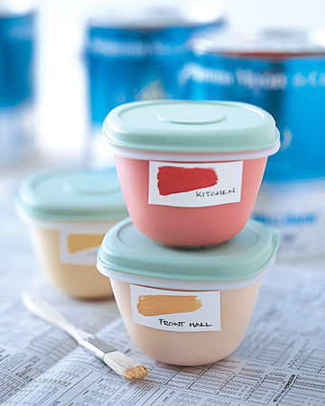 Transfer leftover paint from large cans to small airtight resealable tubs. Make sure to affix a label to the container; note the color and the room where the paint was used.