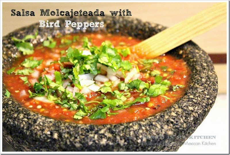 Salsa Molcajeteada with Bird Peppers | enjoy this traditional recipe with a step by step photo tutorial.
