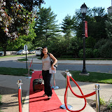 The red carpet leads one of the first arriving alumnae to this historic, final all-womens classes reunion weekend.