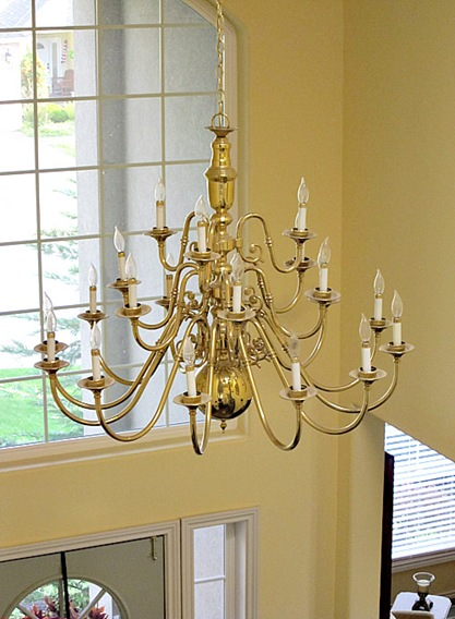 Brass chandeliers makeover at the picket fence i knew that something needed to be done but light fixtures that big cost a lot of money aloadofball Choice Image
