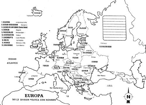 Mapa de Europa con división política con nombres