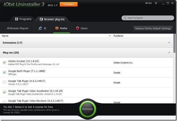 IObit Uninstaller 3 Browser plug-ins