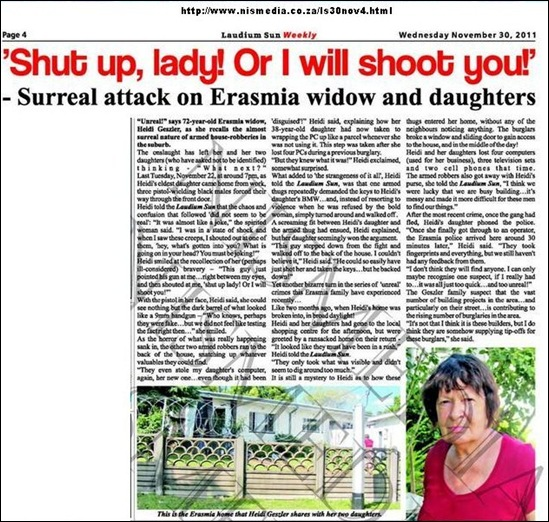 GESSLER Heidi two daughters repeat attacks by black gunmen Erasmia Nov302011 Laudium Sun Weekly