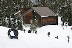 A tubing hill is just outside the lodge. Tubes are provided at the lodge.