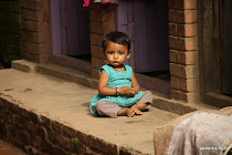 Child on the pavement of Bhaktapur