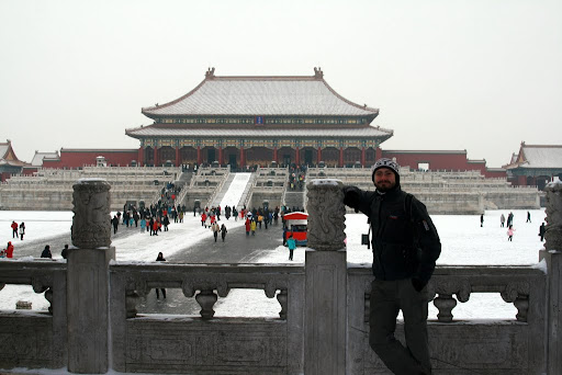 Standing just inside the walls, in the background is The Hall of Supreme Harmony.