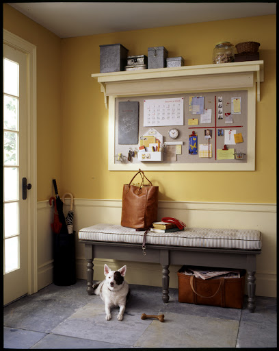 A message board in an entry or mudroom keeps everyone organized and in the loop.