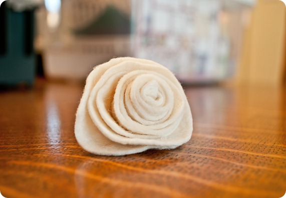 white felt flower
