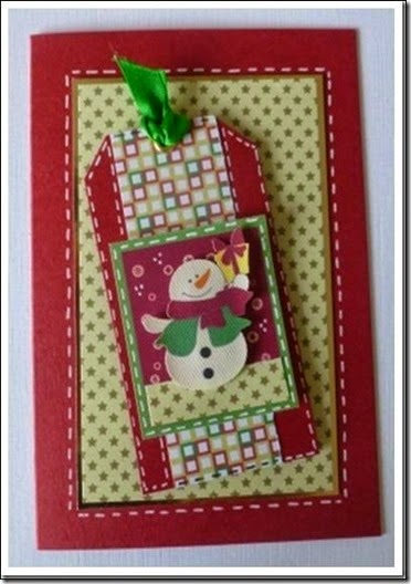 retro snowman tag card