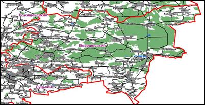 Населені пункти Ківерцівського району. Карта (мапа) Ківерцівського району.