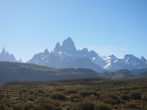 Fitz Roy and other steep mountains towering over El Chalten.