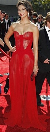 Morena Baccarin Wore Red Colored Dress
