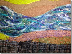 New River Piece in progress, detail, by Sue Reno