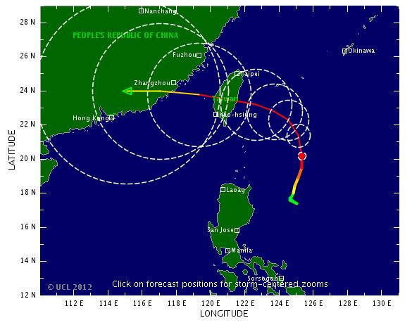 Past and forecast track of typhoon Tembin on 0:00 21 August 2012. According to the Tropicalstormrisk.com�s storm weather chart, Tembin might make land fall in Fujian within the next 72 hours or more. via whatsonxiamen.com