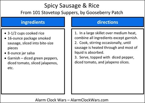 spicy sausage and rice recipe card