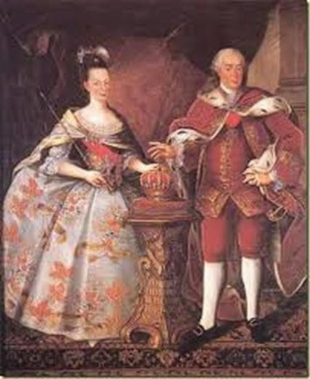 María I, Reina de Portugal (1734-1816) y su tío y esposo, el rey-consorte Don Pedro III
