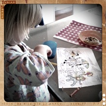 1. colouring at breakfast