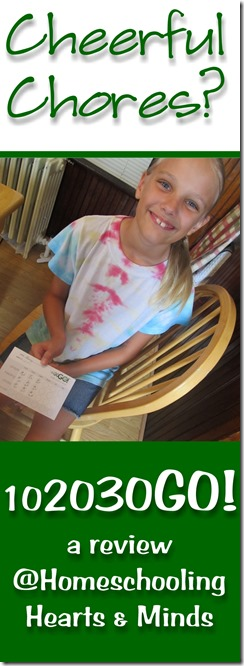 """10-20-30-GO! is not just a """"chore system,"""" but a way of encouraging time with the Father, nurturing family relationships,  teaching personal responsibility, and building a peaceful atmosphere.  Review @ Homeschooling Hearts & Minds"""