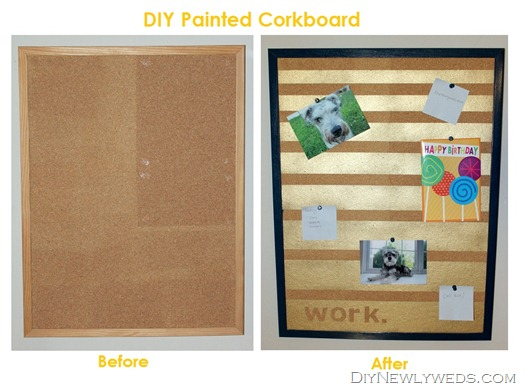 DIY Painted Corkboard Before and After