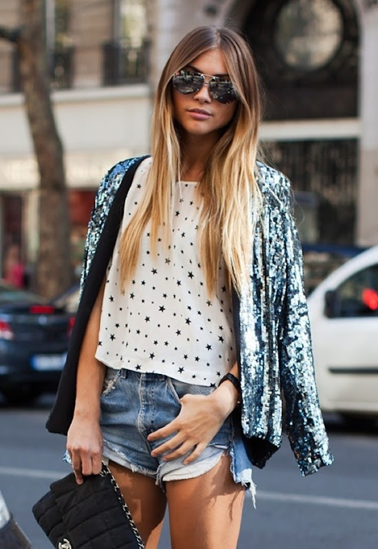 stockholm-street-style-star-stars-top-sequin-jacket-denim-cutoffs-aviator-sunglasses-chanel-bag-streetstyle