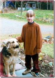 Me (age 7 or 8) and Dolly, grandparents' dog