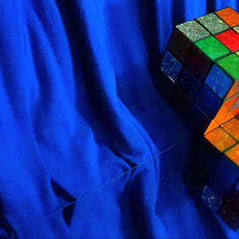In Line with Mr. Rube by Cecilia Sterling - Artistic Objects Toys ( mirror, toy, blue, rubix cube, game, cube,  )