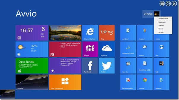 WinMetro schermata Start Windows 8 su XP, Vista e 7